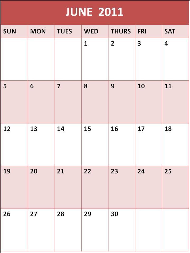 blank june 2011 calendar. Blank Calendar June 2011