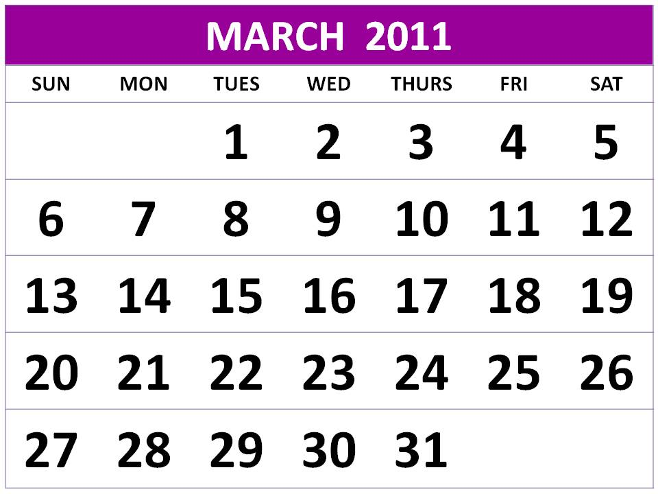 On this website you can find : Free March 2011 Calendar Printable / 2011