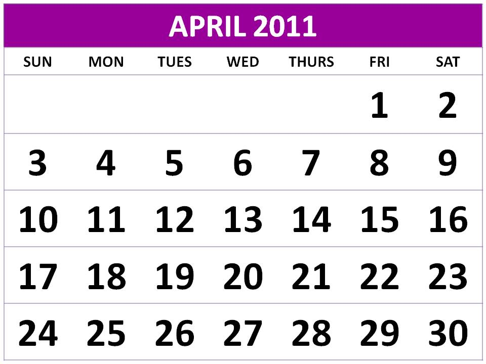 calendar 2011 march and april. April 2011 calendar #18
