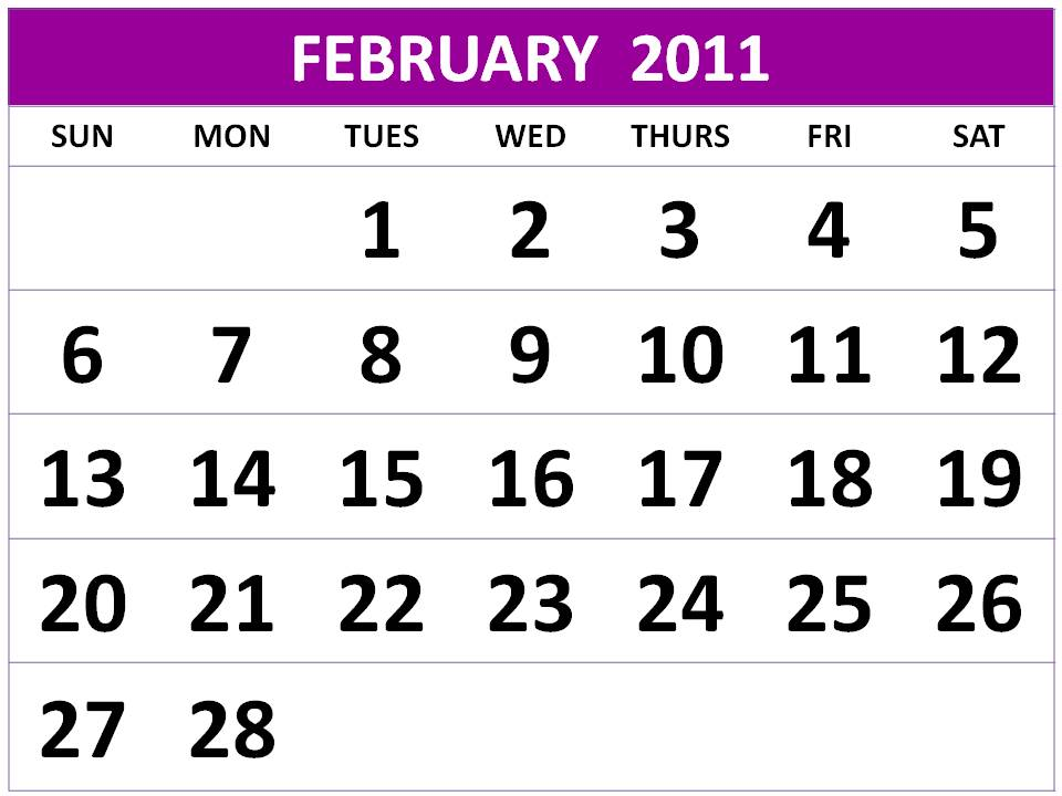 Preview of February 2011 printable calendar - Landscape layout: Download this Printable PDF February 2011 Calendar by clicking the image or