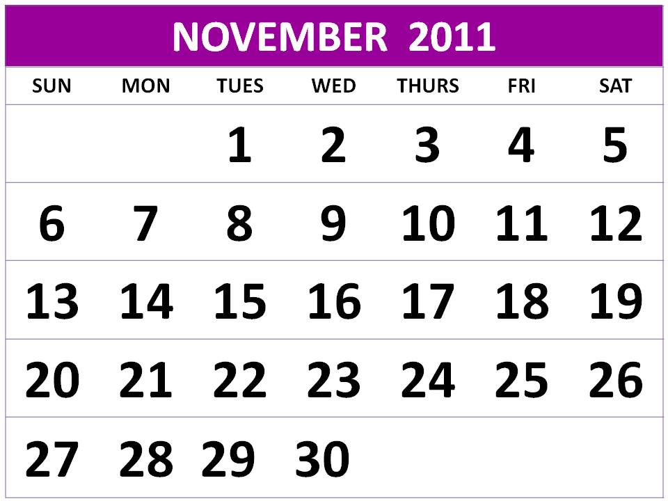 To download and print this Free Monthly Calendar 2011 November: