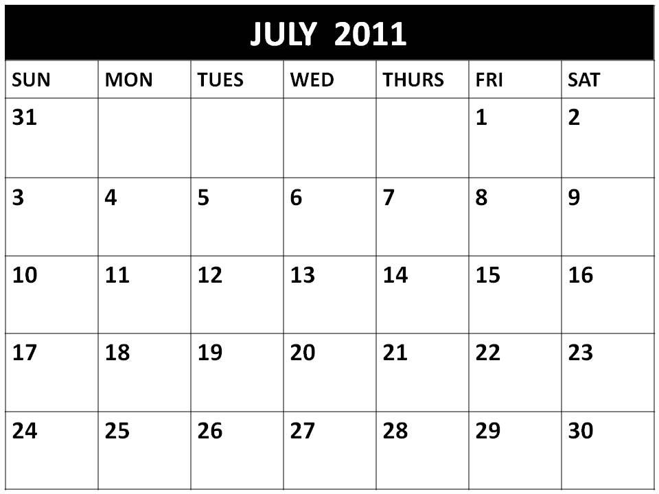 blank july calendar 2011. printable july calendar 2011.