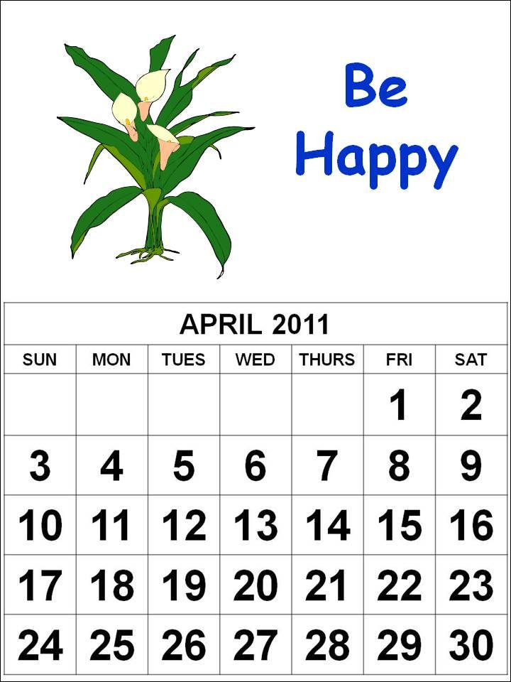 calendars 2011 april. free april 2011 printable
