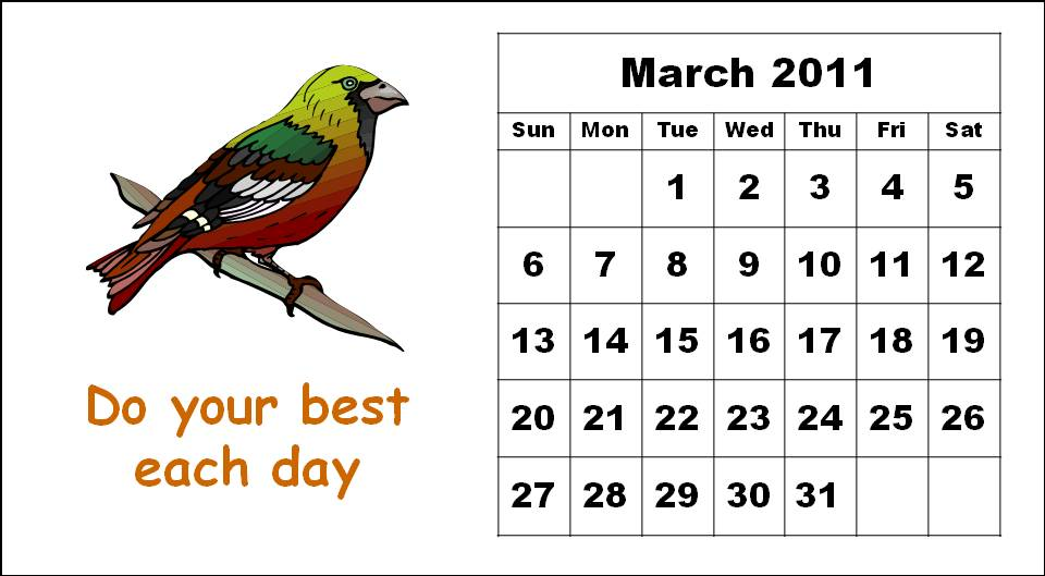 Cute Bird Template Printable Monthly Cute Bird Cartoon Calendars 2011 Printable Templates For