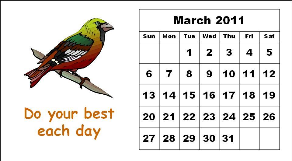 Cute Bird Template Printable Monthly Cute Bird Cartoon Calendars 2011 Printable Templates For