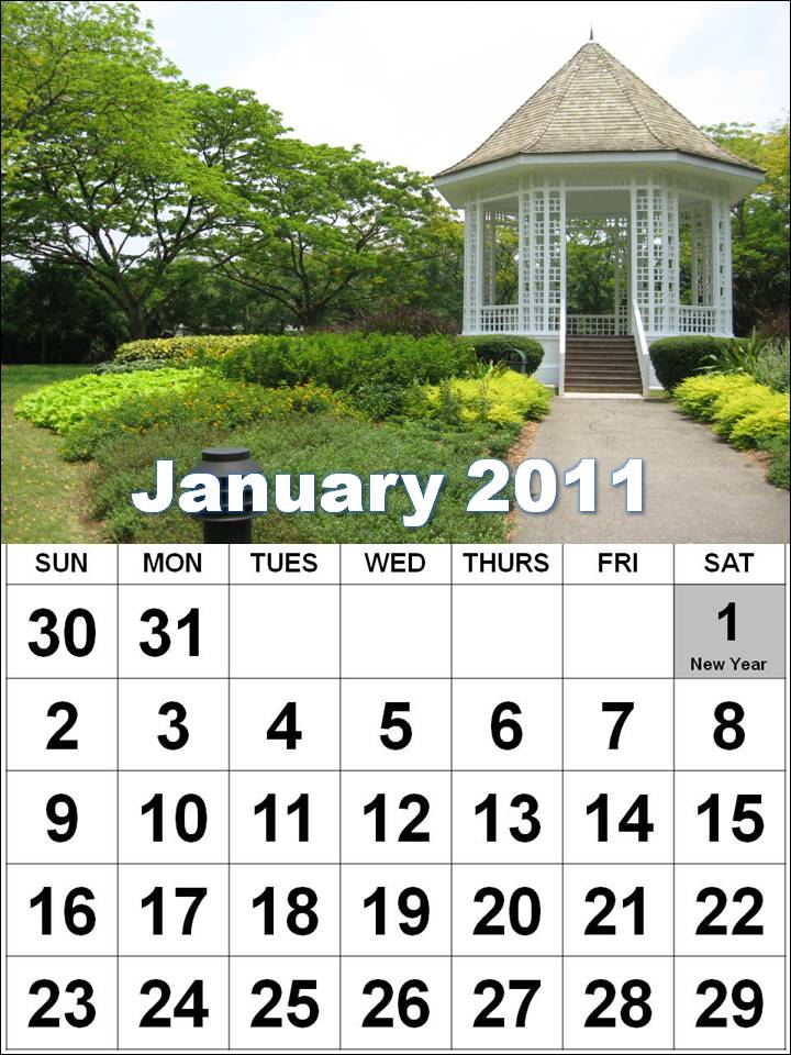Singapore Calendars January 2011 to December 2011 - Vertical