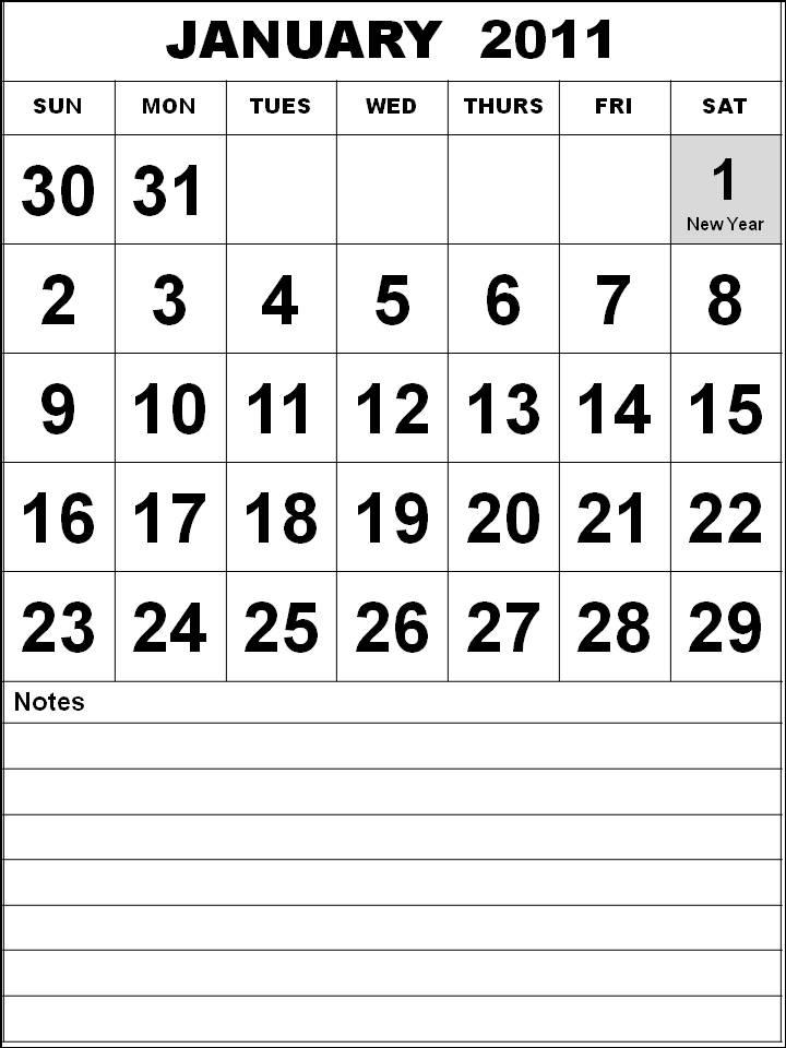 Black and White Big Singapore 2011 January Calendar with Holidays (PH)