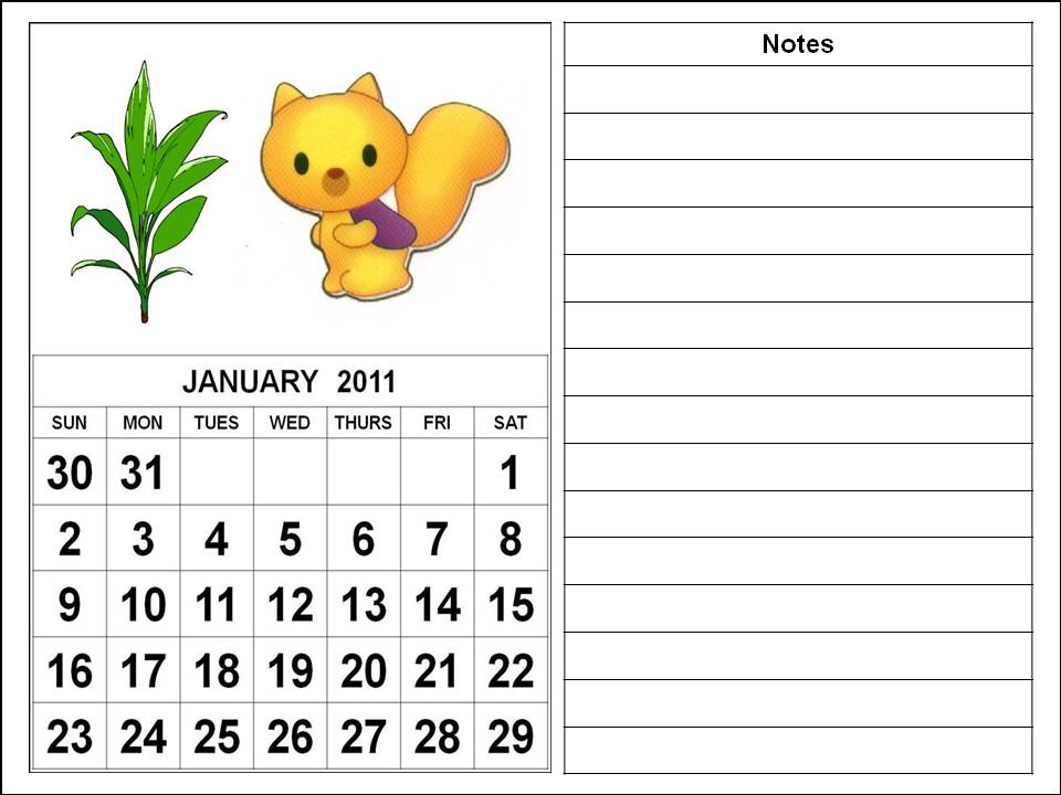 To download and print these Free Cute Calendar 2011 January with big fonts: