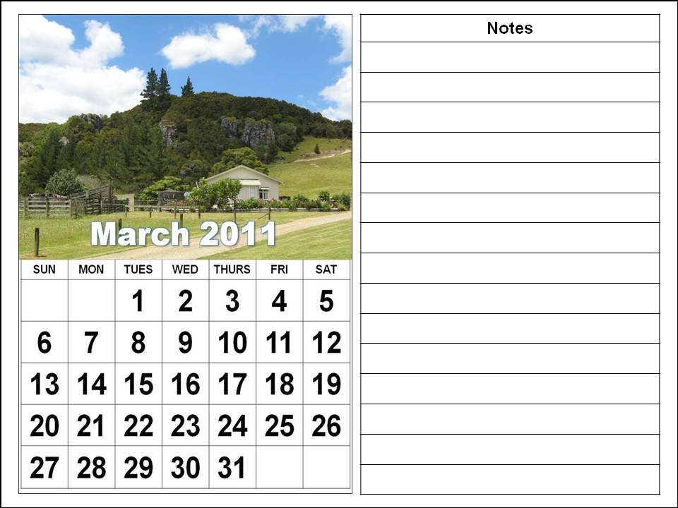 2011 monthly calendar march. MONTHLY CALENDAR 2011 MARCH