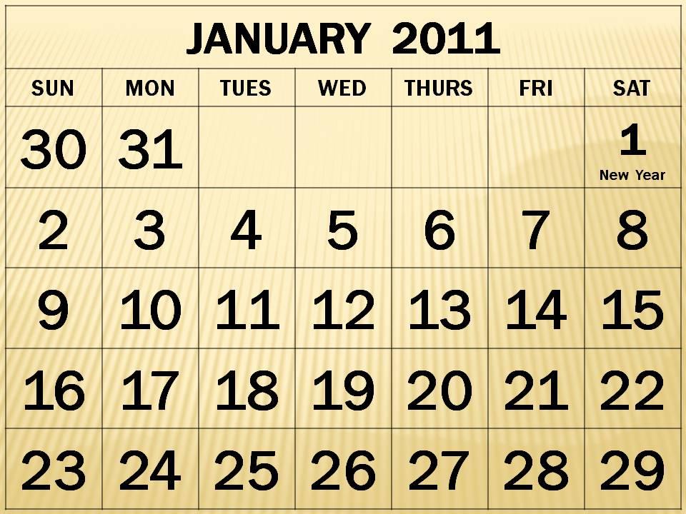 Singapore January 2011 Calendar with Public Holidays (PH)