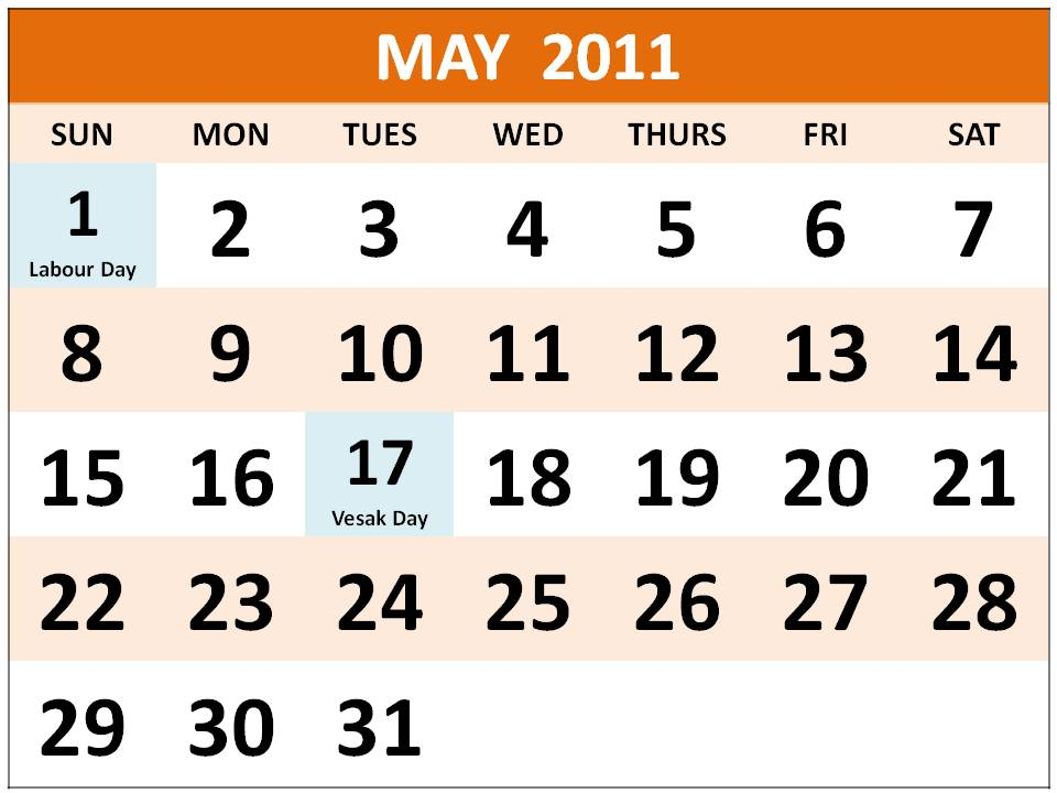 Printable Big Singapore 2011 May Calendar with Holidays (PH)