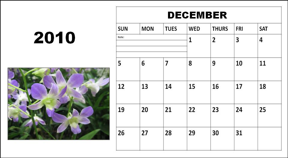 blank calendar 2010. Blank Calendar 2010 December