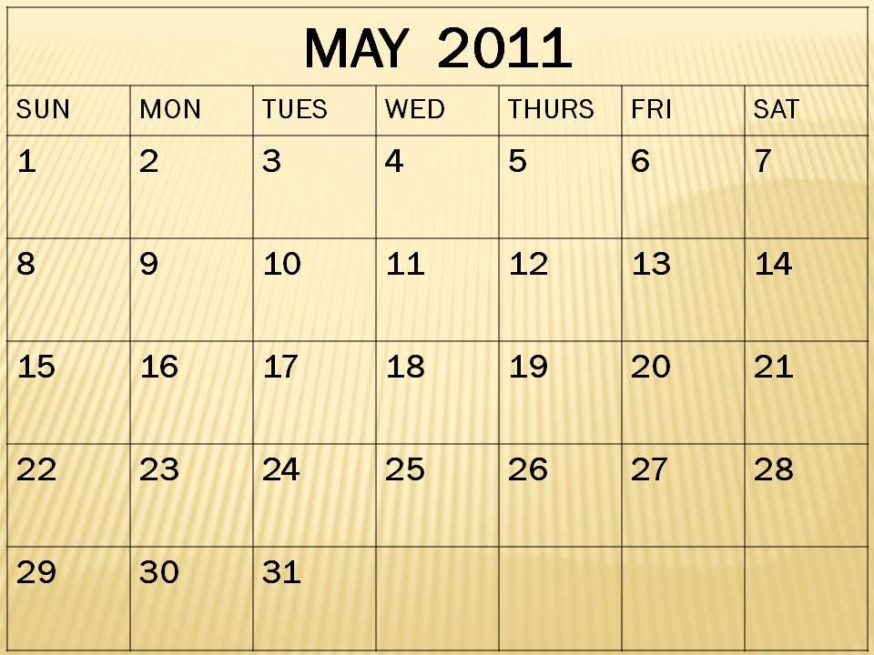may calendar 2011 blank. Blank May 2011 Calendar
