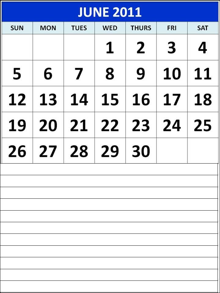 june 2013 calendar. Monthly Calendar 2011 June