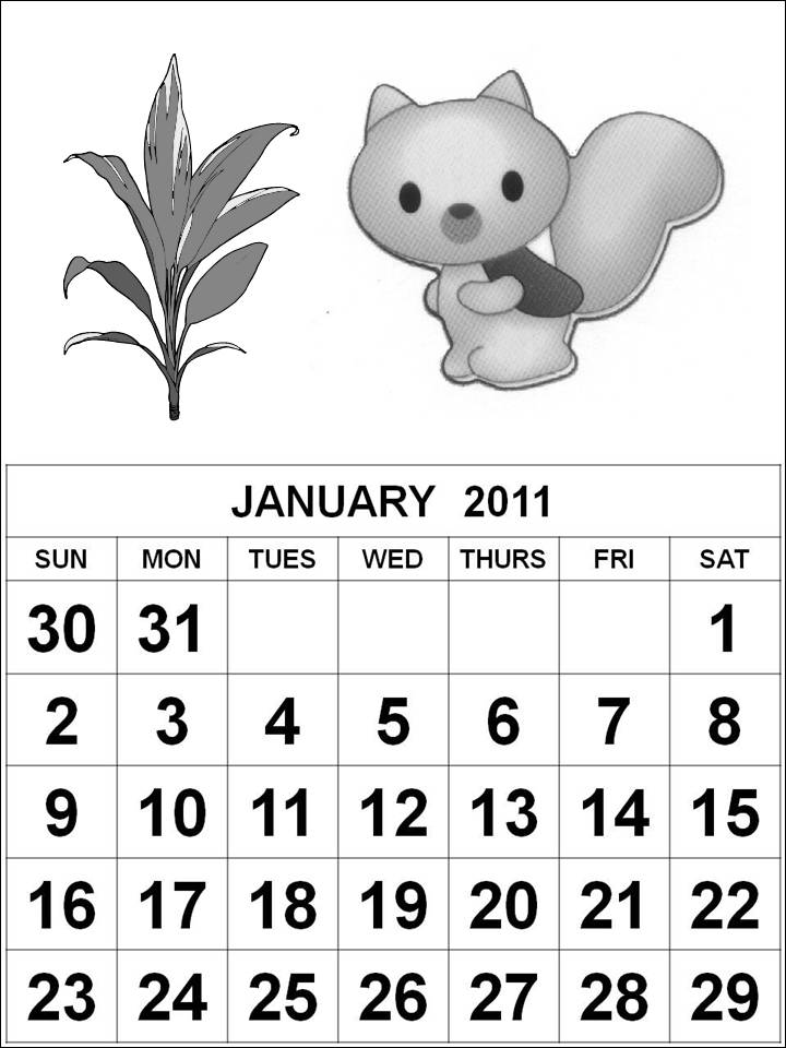 Black and White Cute Cartoons 2011 Calendar Coloring Pages - January 2011