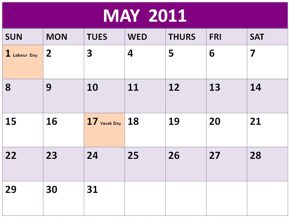 may 2011 calendar with holidays. calendar may 2011 with
