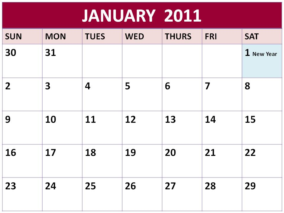 To download and print this Free Singapore Monthly Planners 2011 January with
