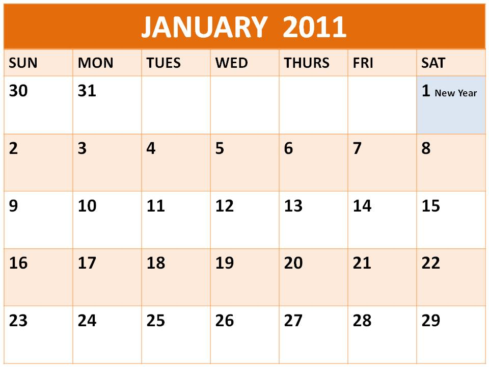 Singapore January 2011 Calendar with Holidays (PH)