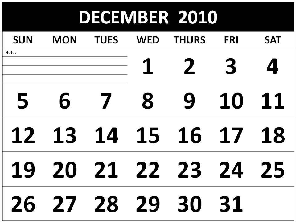calendar 2010 december. Calendar 2010 December