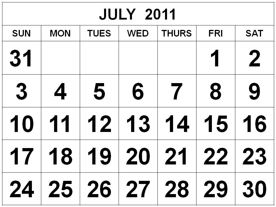 2011 Calendar Template Word. Free Printable July 2011