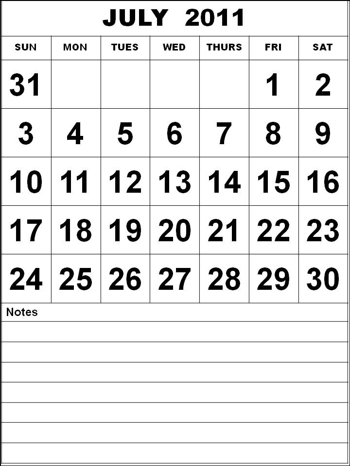 Printable July 2011 Calendar with big fonts and notes