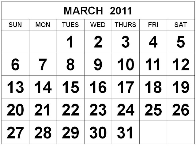 Free Printable March 2011 Calendar with big fonts