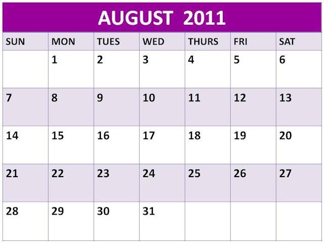 august calendar for 2011. August 2011 Calendar