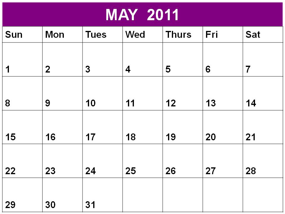 Free printable Planner 2011 May or Blank Calendar May 2011