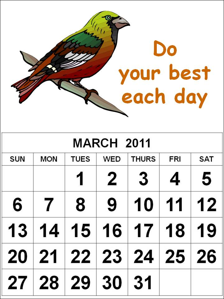 free printable calendars march 2011. Free Homemade Calendar 2011