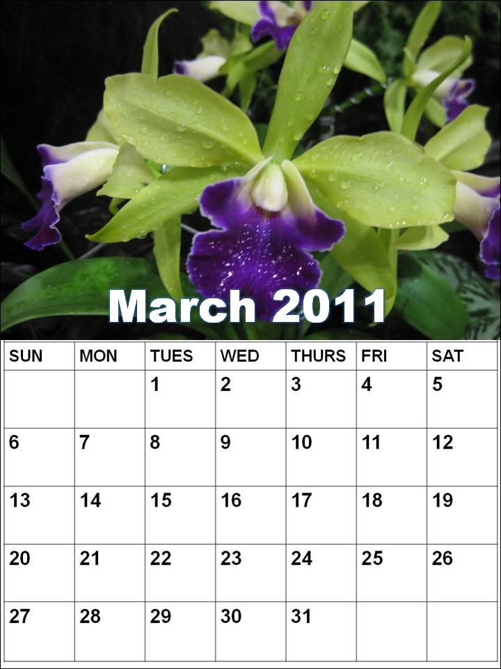 blank march calendar 2010. Blank Calendar 2011 March or