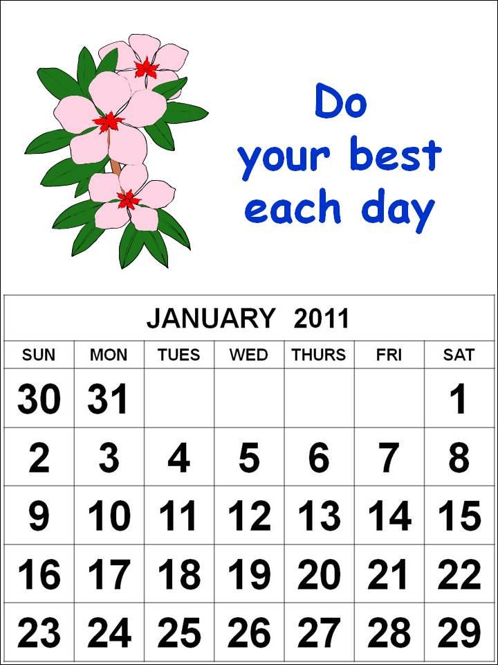 calendar january 2011. January 2011 Calendar Free