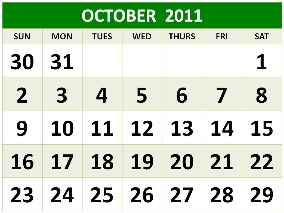 month printable 2011