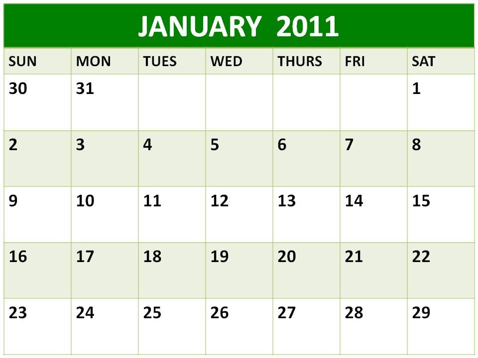 january 2011 calendar planner. Blank Calendar 2011 January or