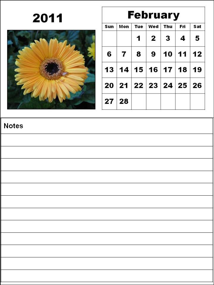 Free Printable February 2011 Calendar Template with spaces for notes