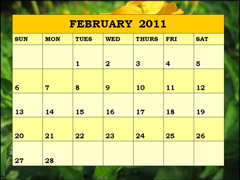 2011 calendar monthly. february 2011 calendar blank.