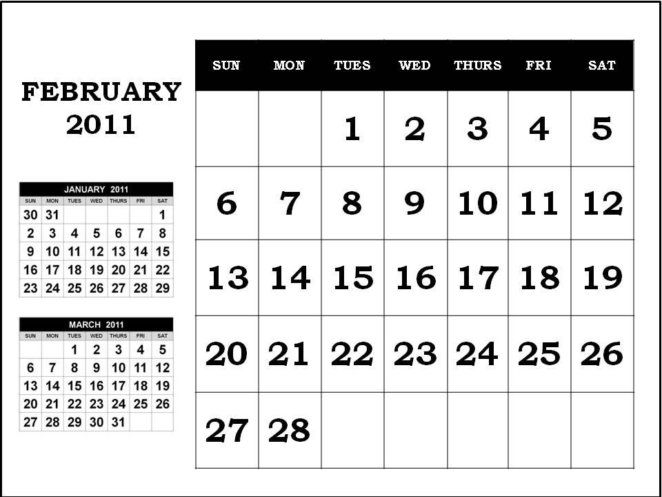 monthly calendar 2011 february. MONTHLY CALENDAR 2011 FEBRUARY