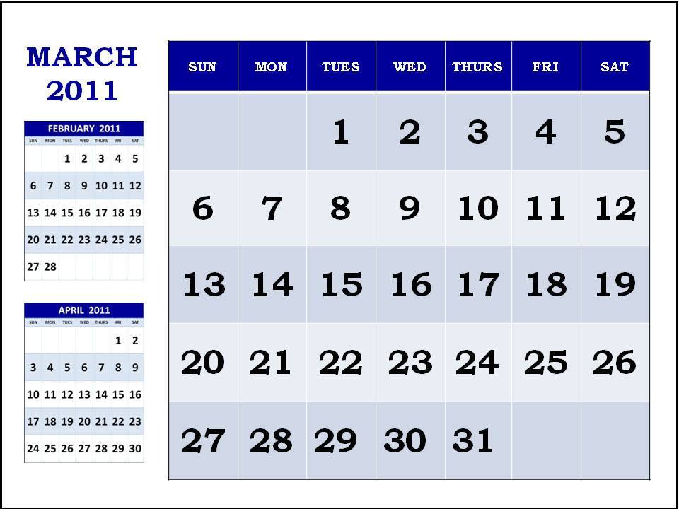 free printable march calendars. Free Printable March 2011