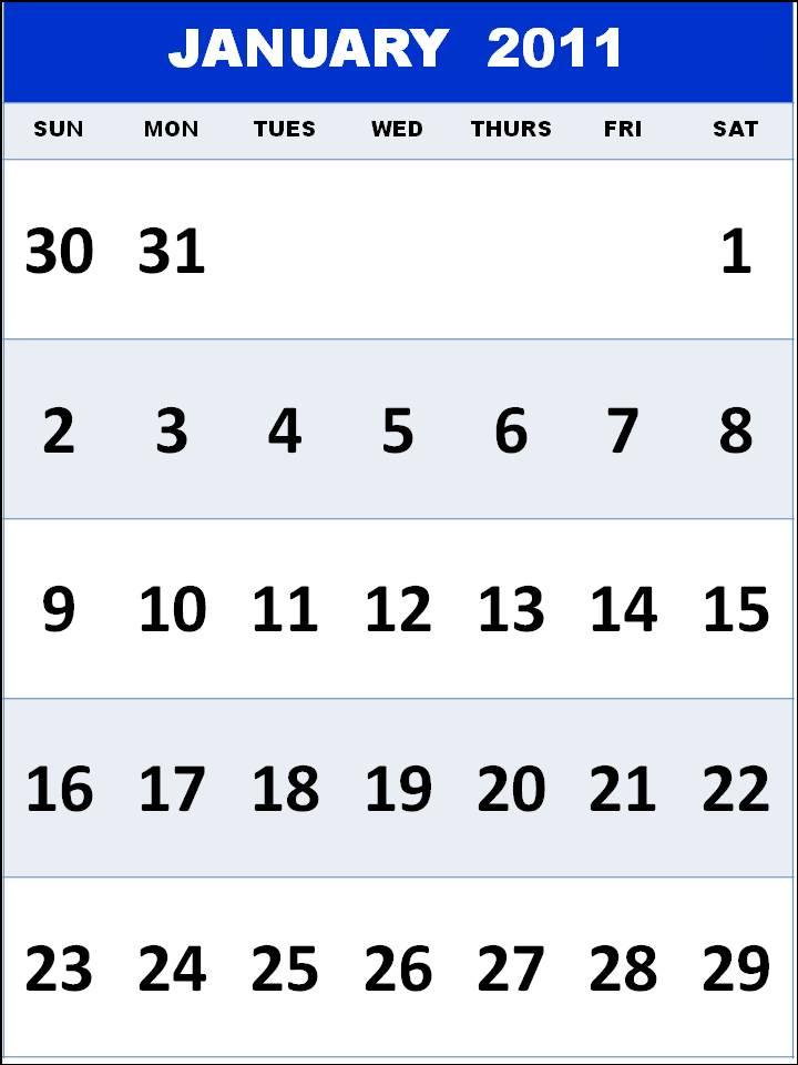 calendars printable 2011. Printable January 2011