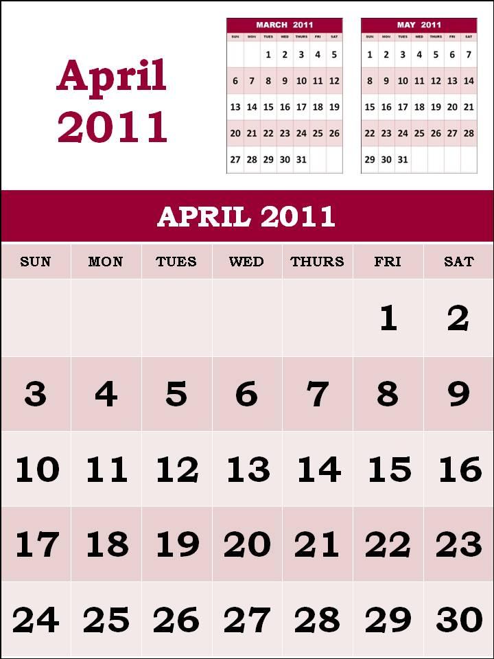 april calendar 2011 with holidays. Calendar 2011 April Printable