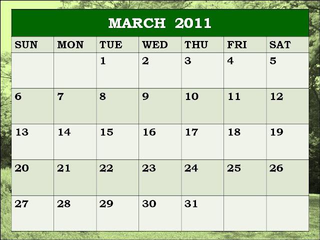 blank calendar march 2011. Blank Calendar 2011 March or