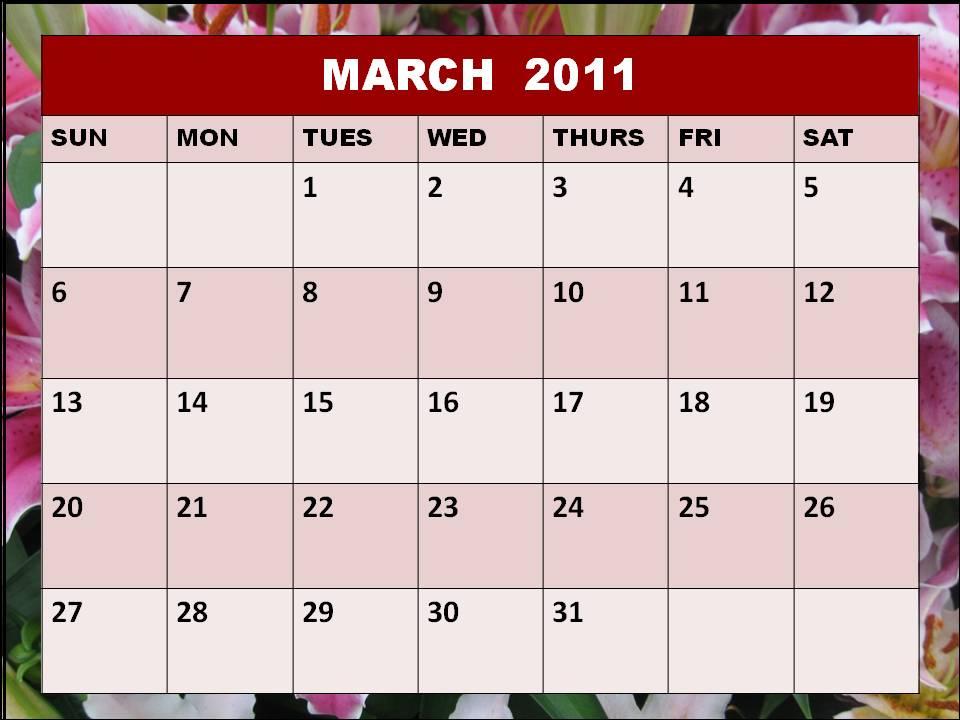 2011 calendar february and march. 2011 Calendar February And