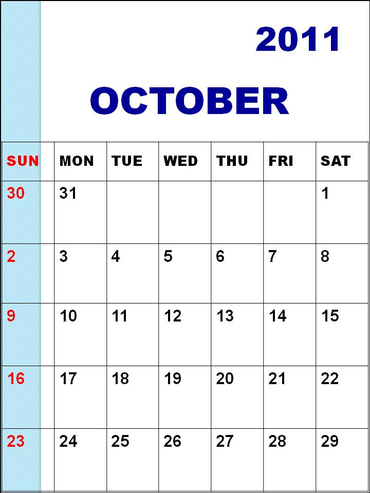 October 2011 Calendar Printable Blank Calendar October 2011 or