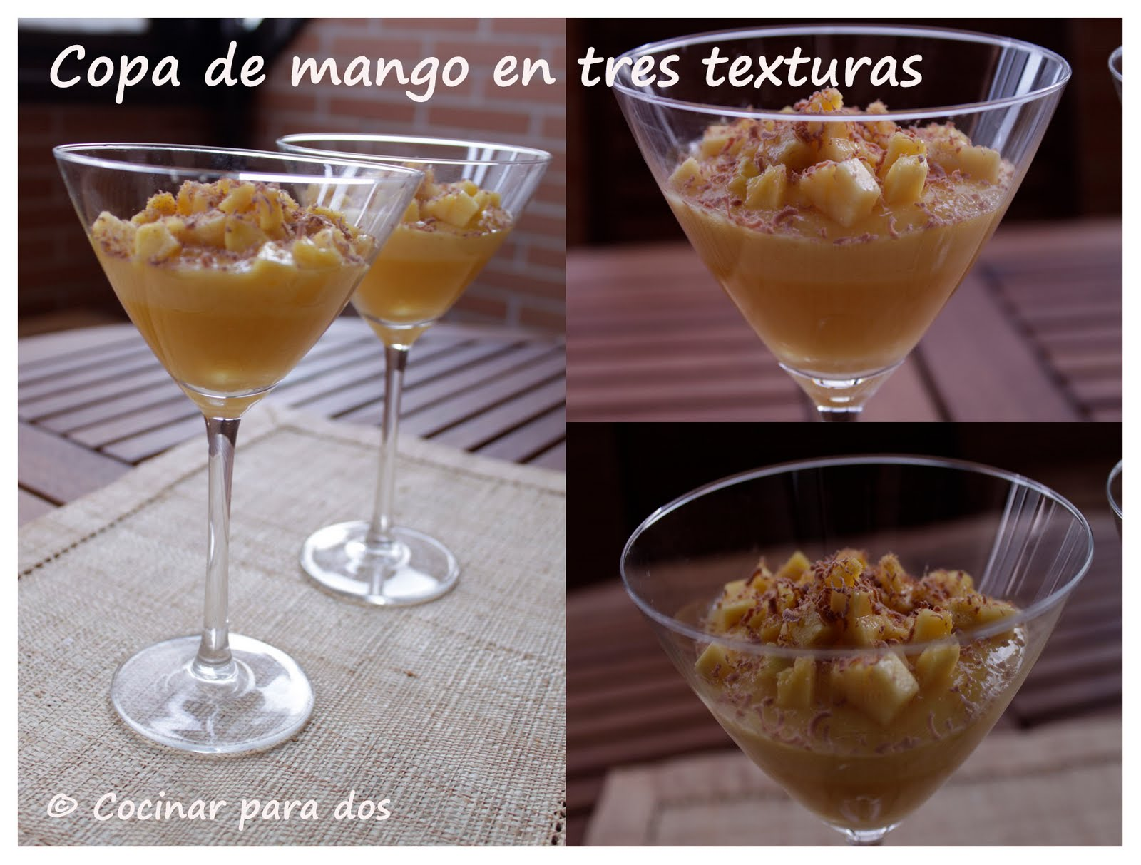 Copas de mango en tres texturas cocinar para 2 for Cocinar con mango