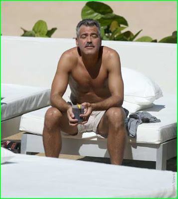 George Clooney shirtless in The Man Who Stares At Goats, October 2008 photo.