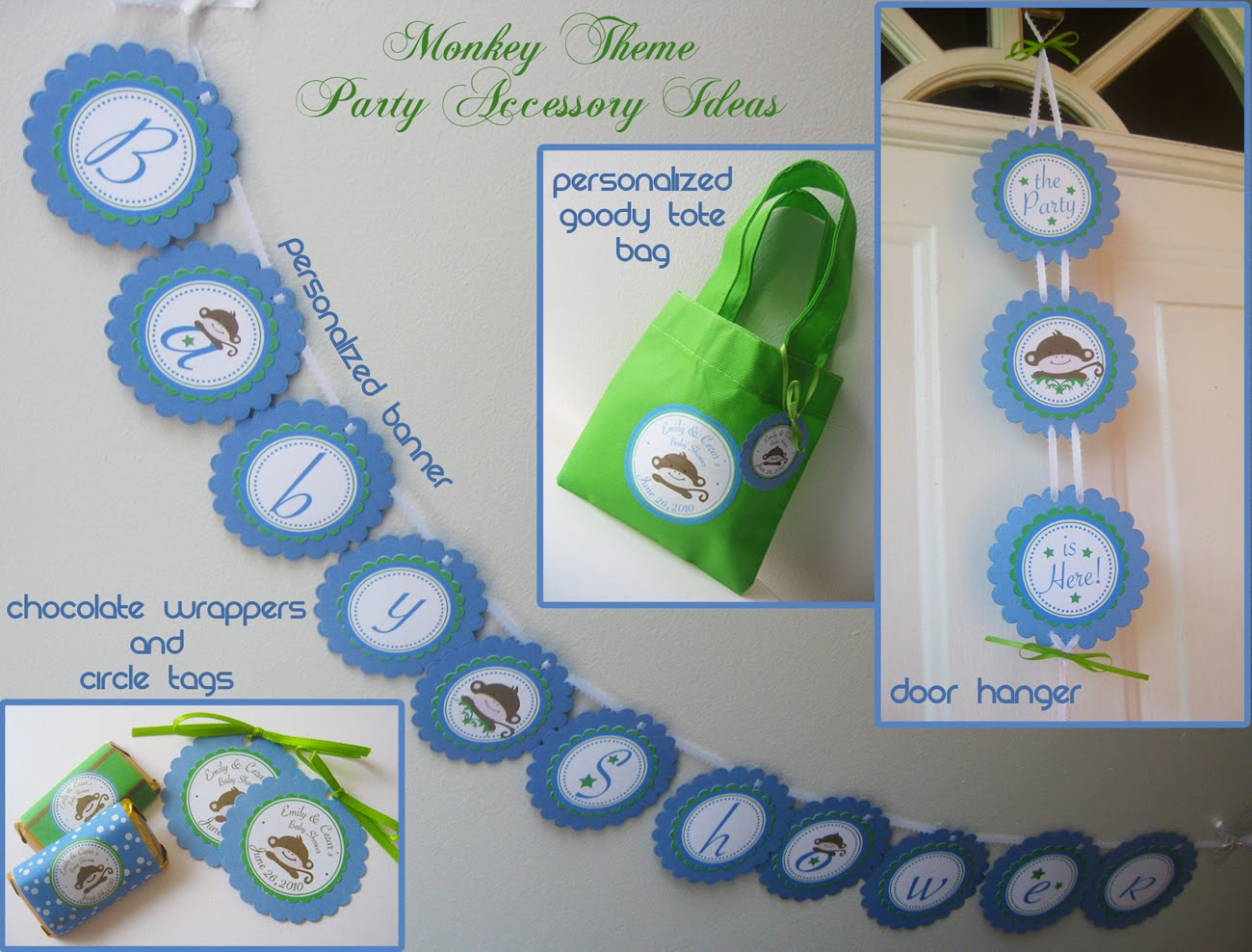 Monkey theme baby shower customize your party and make it memorable kroma design studio - Monkey baby shower favors ideas ...