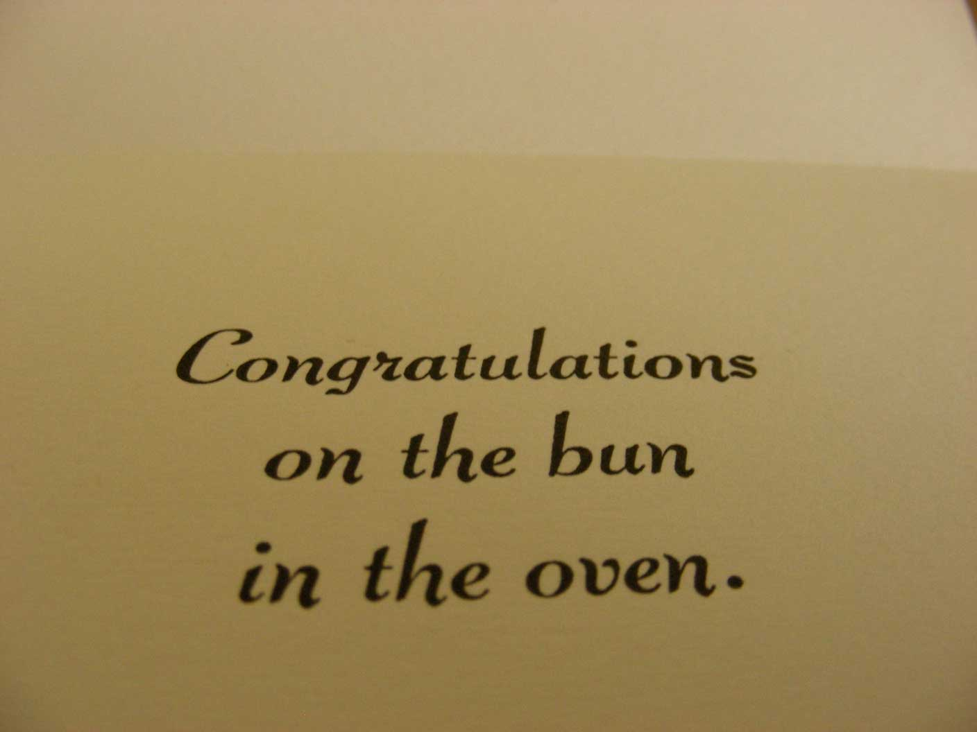 We love letterpress by vintage script press cheeky piggies this cheeky letterpress card is ideal for congratulating someone for their pregnancy in a fun way message inside reads congratulations on the bun in the kristyandbryce Image collections