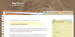 MyDiario - Free Blogger Template suitable for scrapbooking - 2 columns, right sidebar, RSS subscribe button, fixed width, Twitter button, scrapbooking theme, personal blog