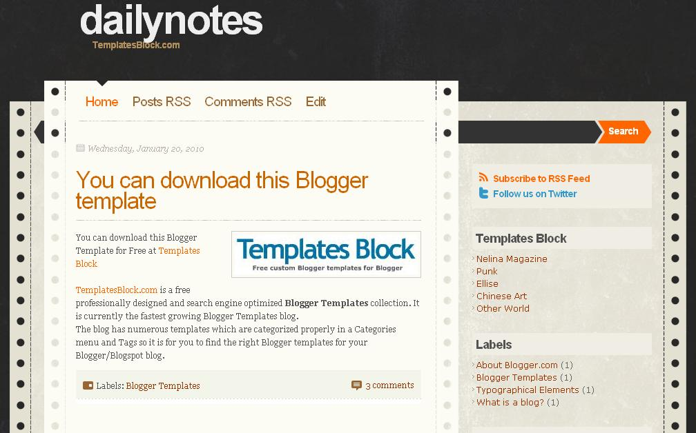 daily notes free blogger template