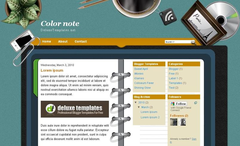 Color Note Free Blogger Template ~ Better Free Blogger Templates