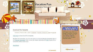 Vacation Fun - Free Blogger Template suitable for scrapbooking - 2 columns, right sidebar, RSS subscribe button, fixed width, navigation menu, recent posts widget, recent comments widget, scrapbooking theme